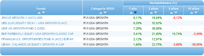 renta variable internacional usa growth rentabilidad 3 años